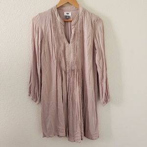 Pintucked Crepe Swing Dress Size Small Long sleeve